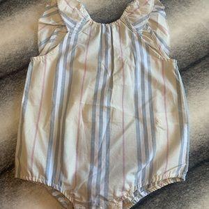 { Burberry } Ruffle Icon Stripe Bodysuit Pale